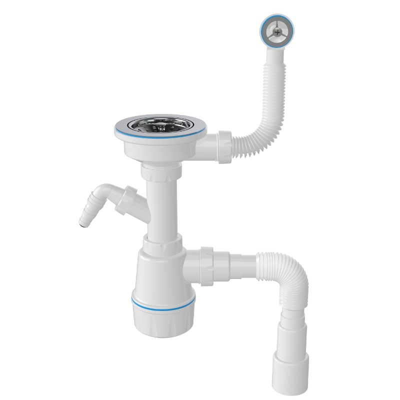 1048 3 ½ Drain, Maxi Bottle Trap Siphon For Sinks With Machine Connection And Round Overflow