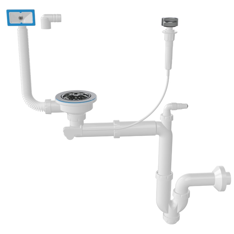 1049 Automatic, 3 ½ Drain, -S- Trap Siphon For Sinks With Machine Connection And Overflow