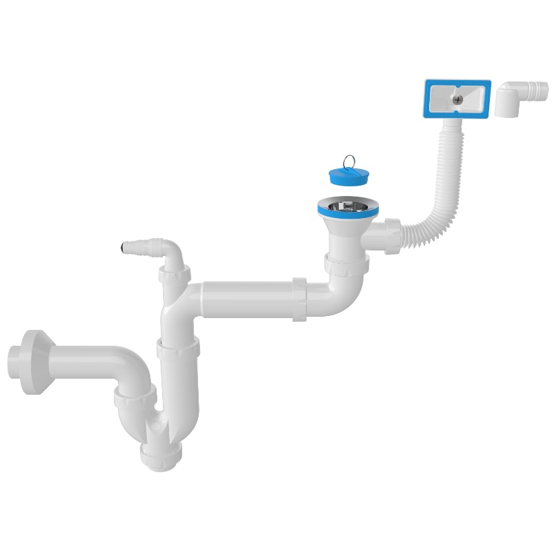 1126 – S -Trap Siphon For Sinks With Overflow And Machine Connection