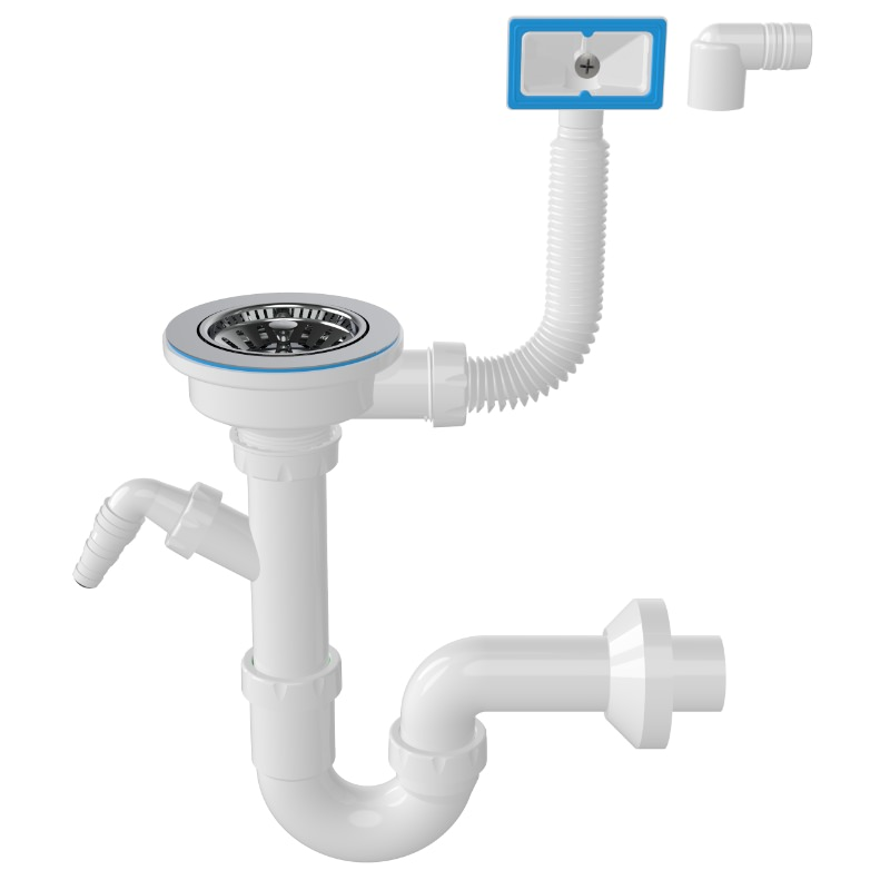 1148 3 ½ Drain, -S- Trap Siphon For Sinks With Machine Connection And Overflow