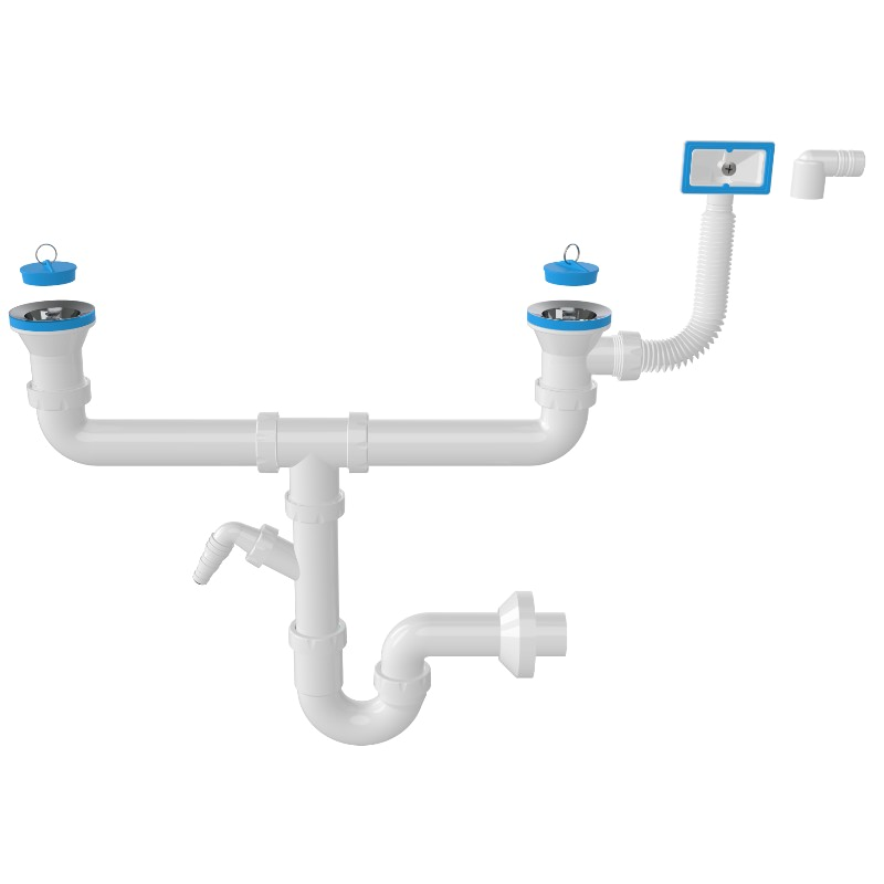 1168 – S – Trap Siphon For Double Bowl Sinks With Machine Connection And Overflow