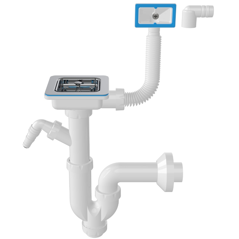 1171 Square 3 ½ Drain, -S-Trap Siphon For Sinks With Machine Connection And Overflow