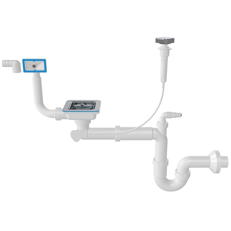 1172 Automatic Square 3 ½ Drain, -S- Trap Siphon For Sinks With Machine Connection And Overflow