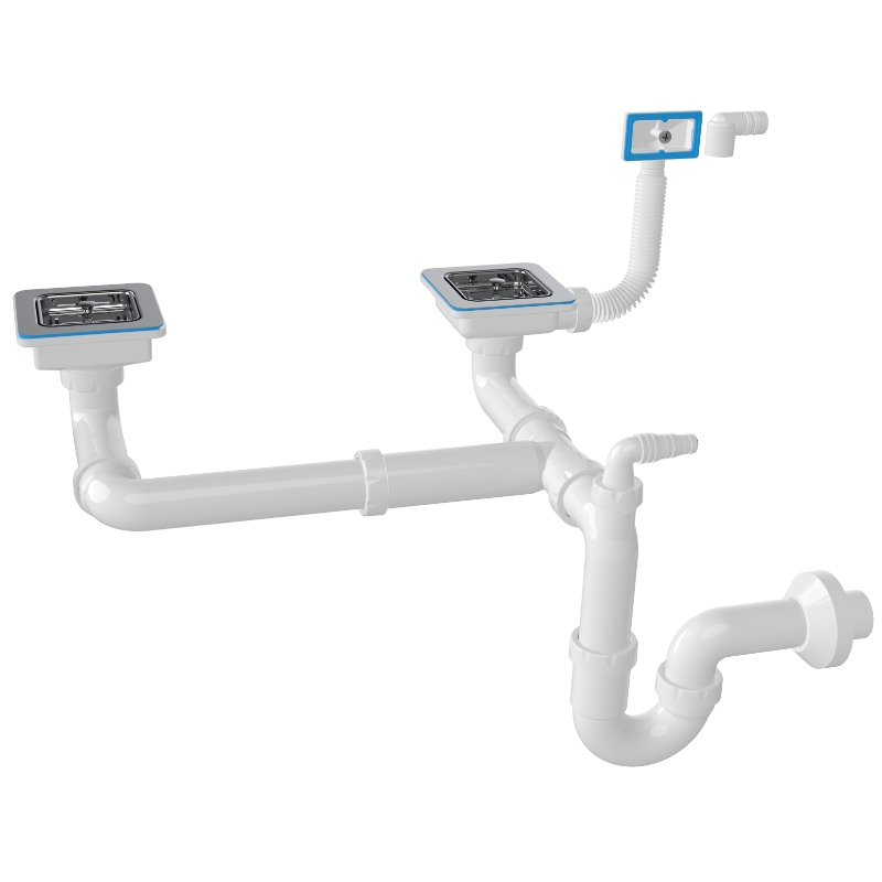 1175 Square 3 ½ Drain, -S-Trap Siphon For Double Bowl Sinks With Machine Connection And Overflow