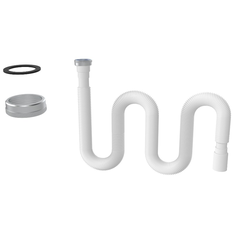 1355 1 ½ – Ø40 Long Flexible Hose With Metal Nut- Flat O-Ring