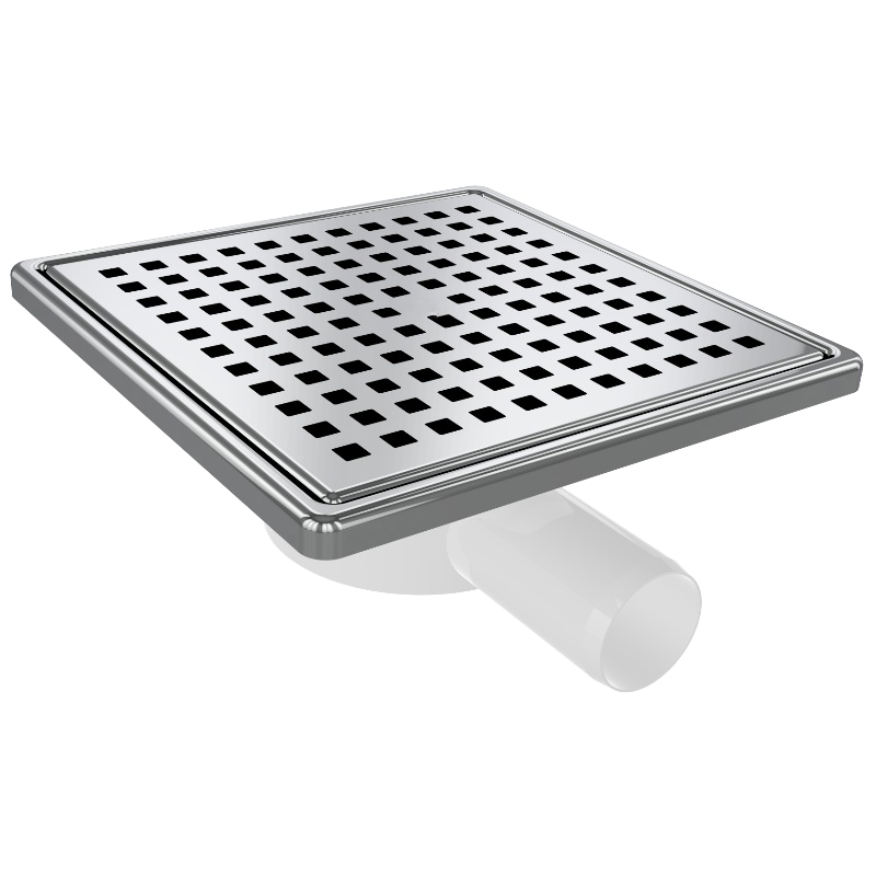5017 15x15cm Horizontal Ø32 Outlet Floor Drain With Stainless Grid And Frame
