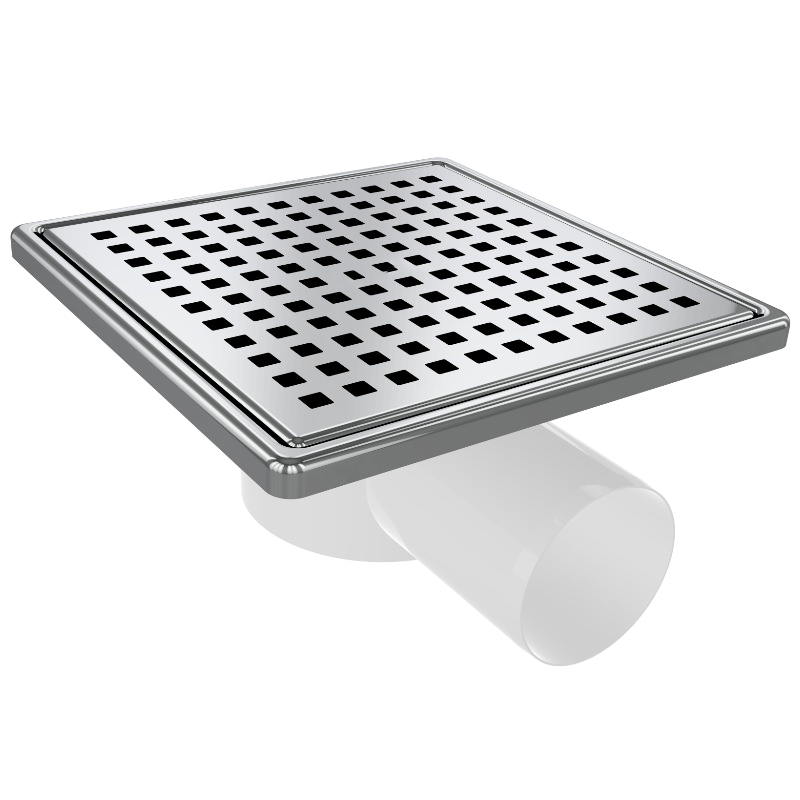 5027 15x15cm Horizontal Ø50 Outlet Floor Drain With Stainless Grid And Frame
