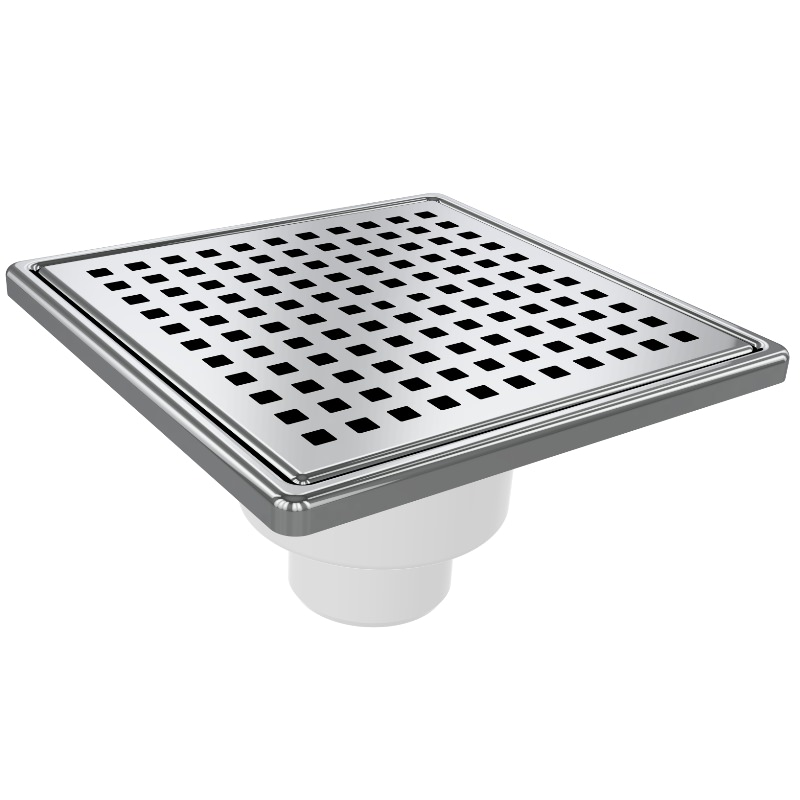5037 15x15cm Vertical Ø50 Outlet Floor Drain With Stainless Grid And Frame