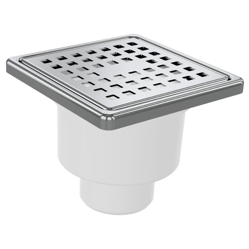 5067 10x10cm Vertical Ø50 Outlet Floor Drain With Stainless Grid And Frame