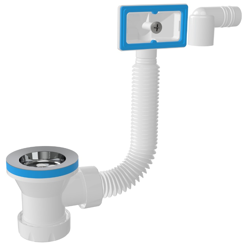 7004 1 ½ – 70mm Drain Siphon Waste With Overflow And Pvc Plug